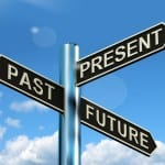 Past Present And Future Signpost Showing Evolution Destiny Or Aging